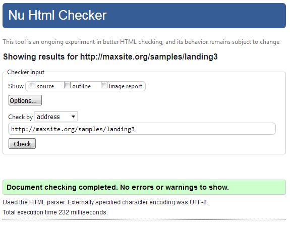 Проверка страницы в html-валидаторе