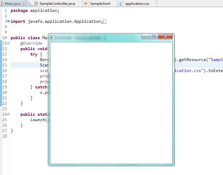 Начальный вид программы JavaFX в Eclipse