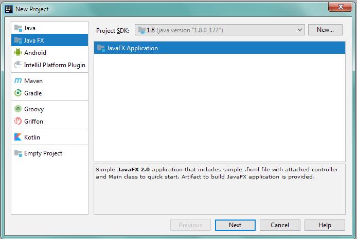 Новый проект JavaFX в IntelliJ IDEA