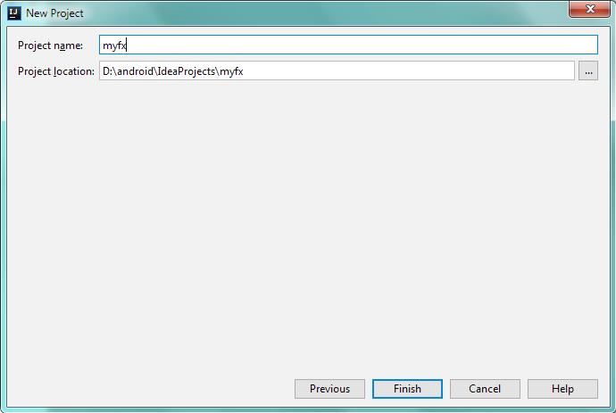 Настройки нового проекта JavaFX в IntelliJ IDEA